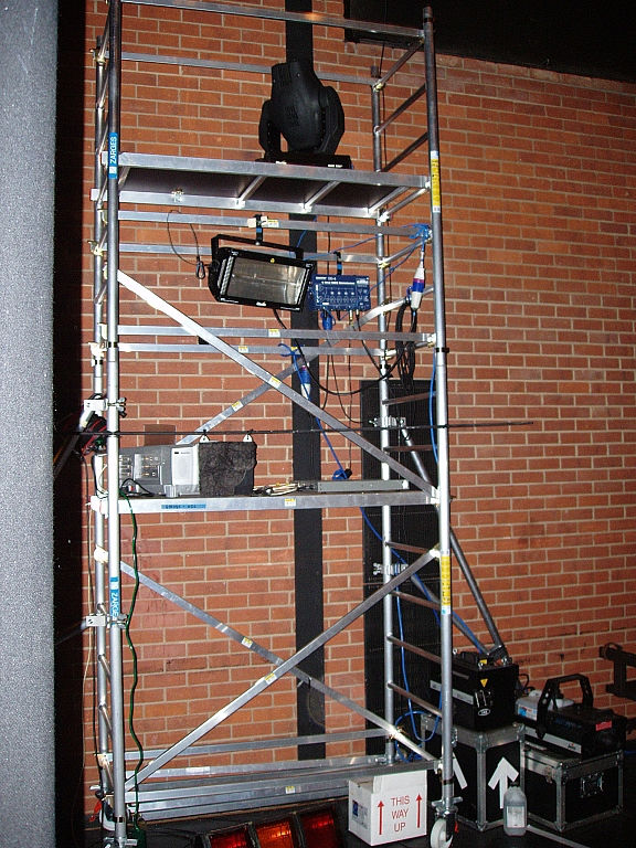 Scaffold tower used for lighting, strobe and projector
